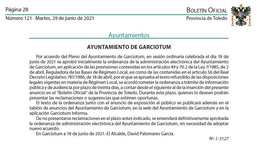 INFORMACIÓN PÚBLICA ORDENANZA ADMINISTRACIÓN ELECTRÓNICA