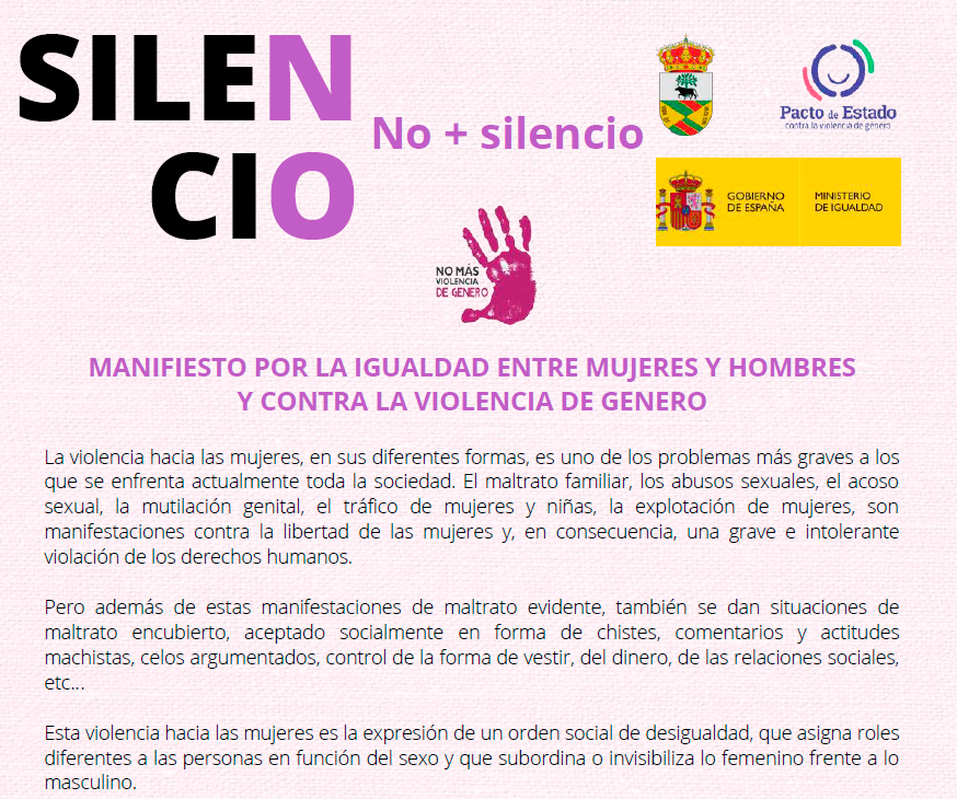 MANIFIESTO POR LA IGUALDAD ENTRE MUJERES Y HOMBRES Y CONTRA LA VIOLENCIA DE GENERO