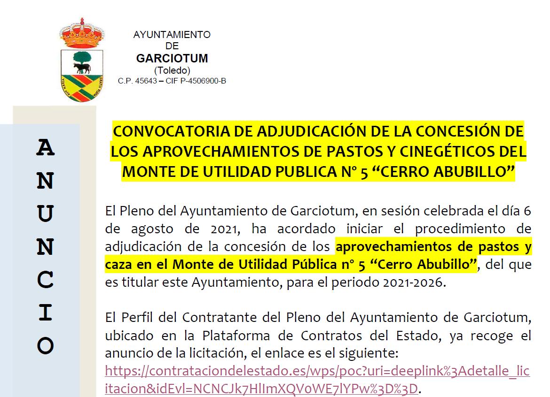 """CONVOCATORIA DE ADJUDICACIÓN DE LA CONCESIÓN DE LOS APROVECHAMIENTOS DE PASTOS Y CINEGÉTICOS DEL MONTE DE UTILIDAD PUBLICA Nº 5 CERRO ABUBILLO"""""""